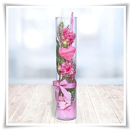 Tuba szklana, wazon cylindryczny H-40 cm D-8,5 cm / szkło ekologiczne - 1