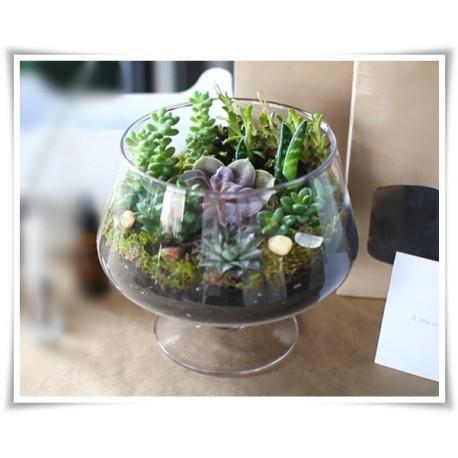 Salaterka szklana na nóżce KK-4 H-15,5 cm D-16 cm / szkło ekologiczne - 1