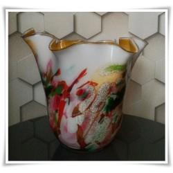 Wazon szklany kolorowy z artystycznego szkła chusta H-30 cm P12