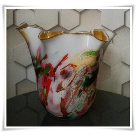 Wazon szklany kolorowy z artystycznego szkła chusta H-30 cm P12 - 1