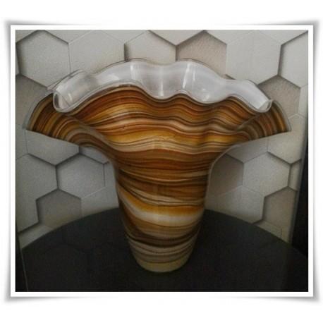 Wazon szklany kolorowy z artystycznego szkła chusta H-35 cm PASY - 1