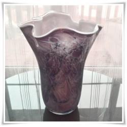 Wazon szklany kolorowy z artystycznego szkła chusta H-30 cm DB13
