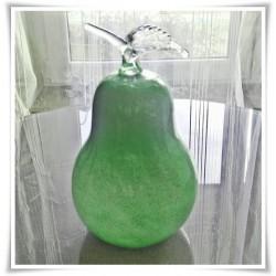 Szklany owoc z kolorowego, artystycznego szkła, gruszka H-18 cm