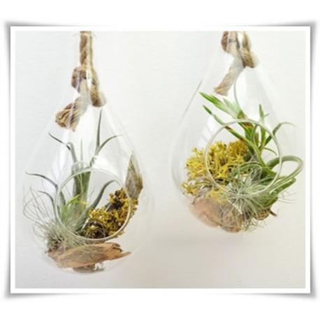 Szklany gródek wiszący , dekoracja wisząca ze szkła, gruszka 20 cm - 1