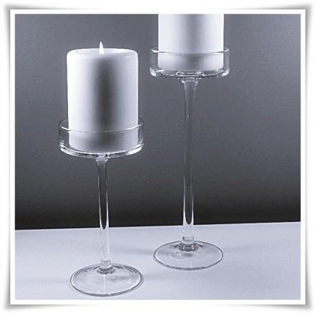 Świecznik szklany na nóżce, kielich cylinder  552 H-30 cm D-12 cm - 1