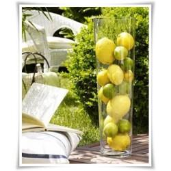 Wysoki wazon szklany KONISZ H-70 cm D-22 cm szlifowany