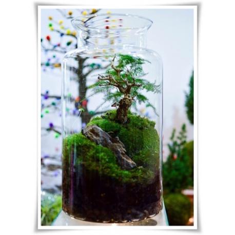 Słój szklany dekoracyjny W-332B1 H-40 cm D-19 cm / szkło ekologiczne - 1