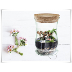 Flakon szklany, pojemnik z korkiem  Atena 256 H-20 cm / szkło ekologiczne - 1