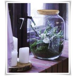 Dekoracyjny duży słój szklany 32cm z korkiem, terrarium na las w szkle, miniogródek - 1