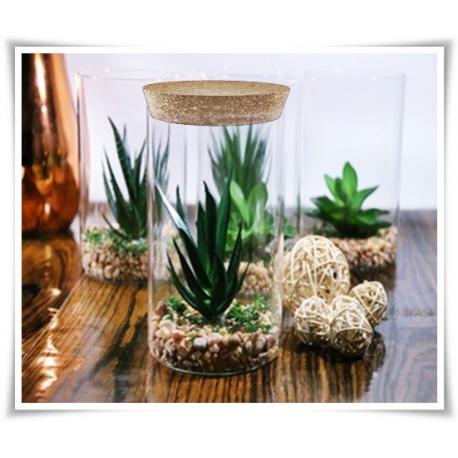 Wazon z eko szkła, cylinder szklany 25 cm, tuba z pokrywką z korka - 1