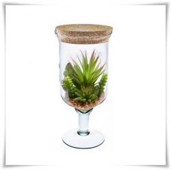 Szklany kielich na nóżce z korkiem W-118 H-28 cm / szkło ekologiczne