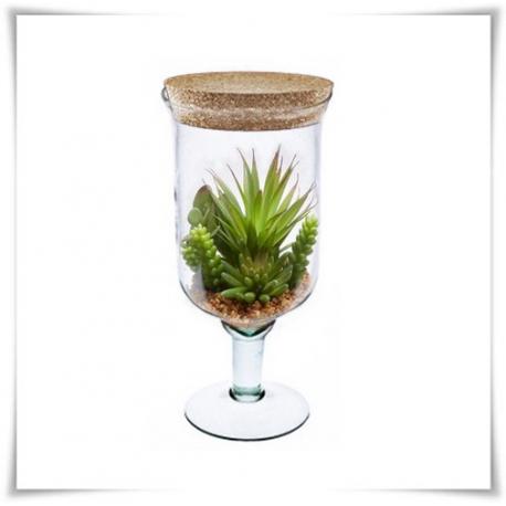 Szklany kielich na nóżce z korkiem W-118 H-28 cm / szkło ekologiczne - 1