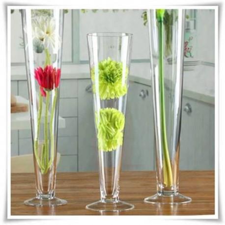 Wazon szklany na stopce 40 cm, stożek, pilsner, dekoracja ślubna - 1
