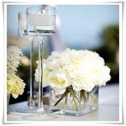 Świecznik szklany na nóżce, kielich cylinder 807 H-30 cm D-9 cm
