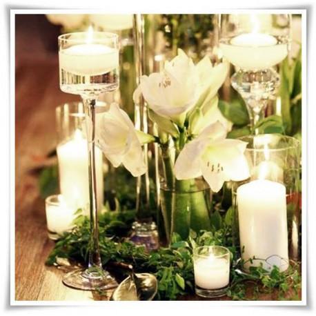Świecznik szklany na nóżce, kielich cylinder 807 H-35 cm D-9 cm - 1