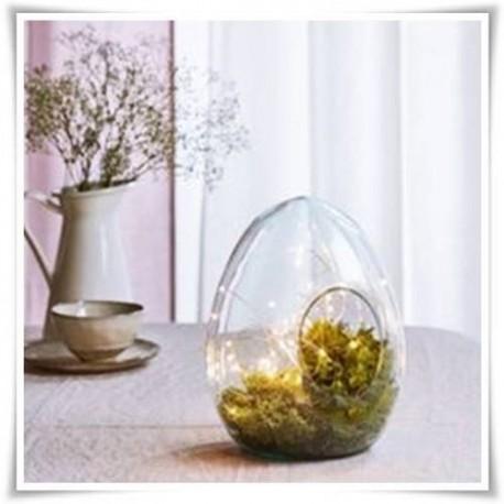 Terrarium szklane z otworem bocznym, wazon w kształcie jajka 26 cm