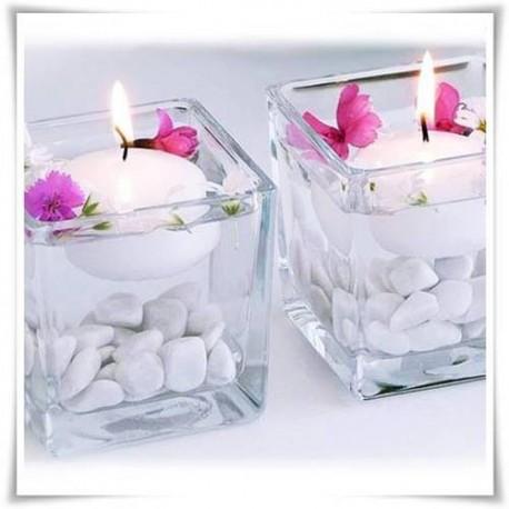 Kwadrat wazon szklany świecznik, kostka szklana 8 cm - 1
