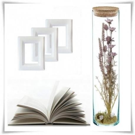 Tuba szklana z korkiem H-40 cm D-8,5 cm / szkło ekologiczne - 1