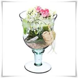Kielich z ekologicznego szkła, świecznik na nóżce, wzon szklany 22 cm - 1