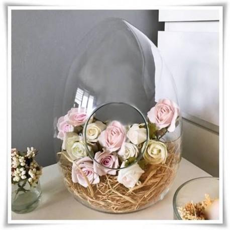 Szklany słoik ozdobny z otworem bocznym, jajko H-32 cm D-23 cm - 1