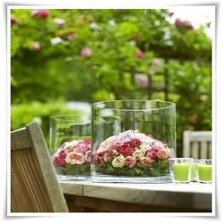 Wazon szklany cylinder, szklana tuba na kwiaty, walec ze szkła 20 cm - 1