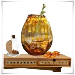 Owalny bursztynowy wazon szklany kolorowy z artystycznego szkła H-30 cm