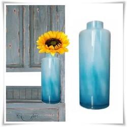 Błękitny wazon, butelka szkło kolorowe H-36