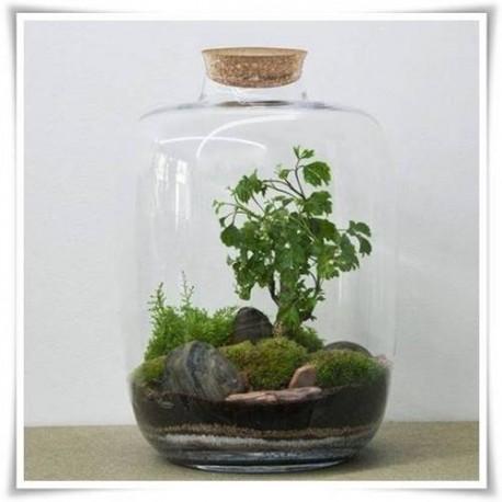 Słój szklany BARREL, wazon ze szkła, terrarium H-30 D-24 z korkiem