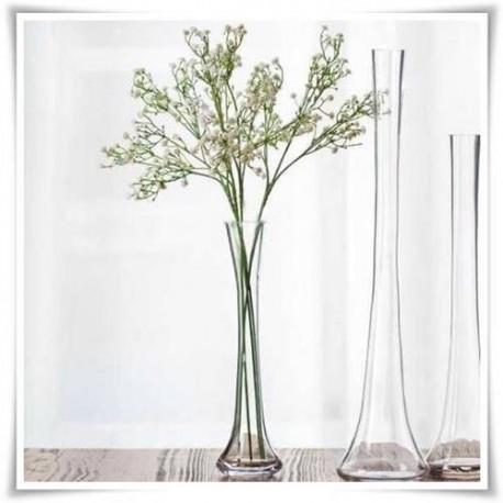 Smukły wazon szklany na jeden kwiat, flakon klepsydra, rura, flet 40cm - 1