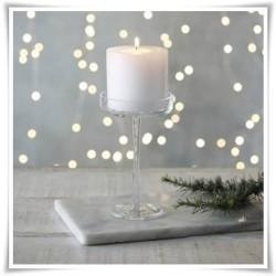 Świecznik cylinder na smukłej nóżce, kielich szklany na wysokiej nodze 25cm - 1