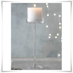 Świecznik szklany na nóżce, kielich cylinder 552 H-40 cm D-12 cm - 1