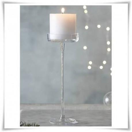 Szklany kielich, świecznik cylindryczny na wysokiej nodze, wazon 40 cm - 1