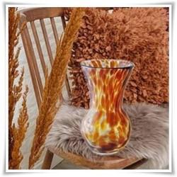 Bursztynowy wazon szklany kolorowy z artystycznego szkła 22 cm pękaty