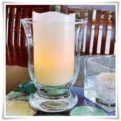 Świecznik szklany, lampion Mitras H-15,5 cm D-12 cm