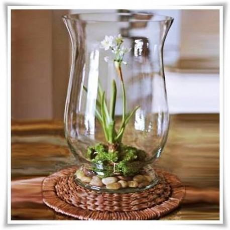 Wazon szklany, ozdobny lampion, świecznik ekoszkło 30 cm - 1