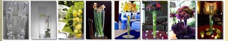 Hurtownia szkła Kaja-Glass wazony cylindryczne, szklane stożki na stopce